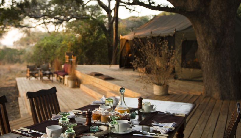 Meals served under the shade of ancient trees with the Chada plain stretching before you at Chada Katavi.