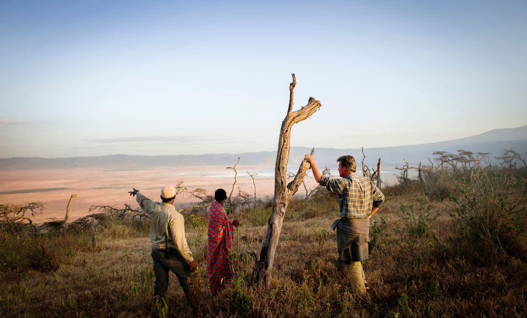 Walking along the rim of the Ngorongoro Crater.