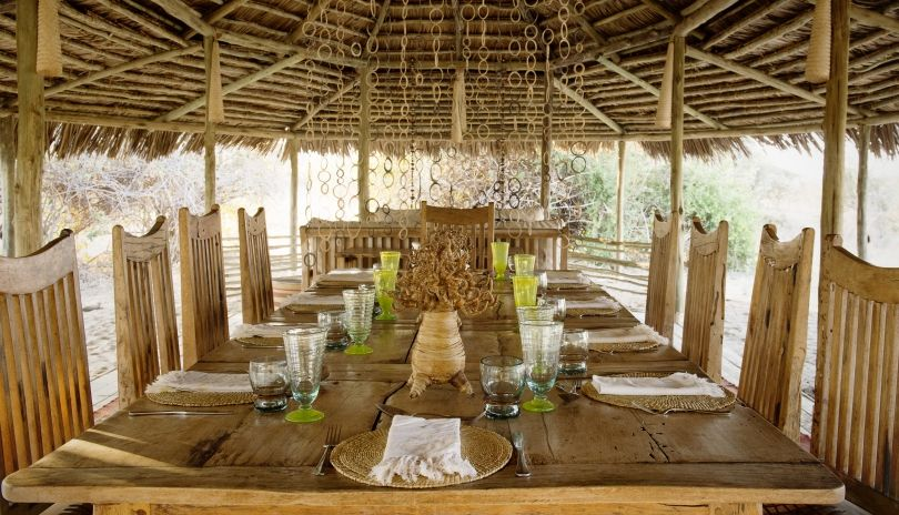 Dining in the main dining area at Kigelia Ruaha.