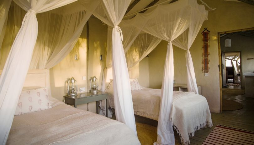 The family accommodation at Lamai Serengeti is made up of two bedrooms joined by a shared bathroom. The adults room is open-fronted whilst the children's room is enclosed adding that little bit of reassurance when on safari with the little ones.
