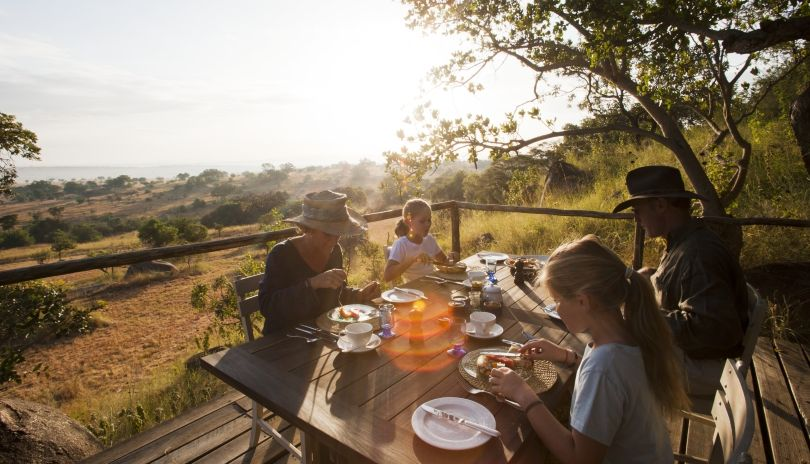 Breakfast as the sun rises over the Serengeti from Lamai Serengeti.