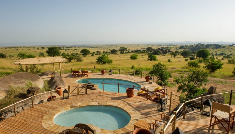 Mkombe's House has two swimming pools, one slightly smaller one for the little ones, both with epic views over the Serengeti.