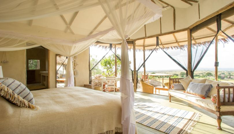 Two open fronted bedrooms make the most of the epic views over the northern Serengeti at Mkombe's House Lamai.