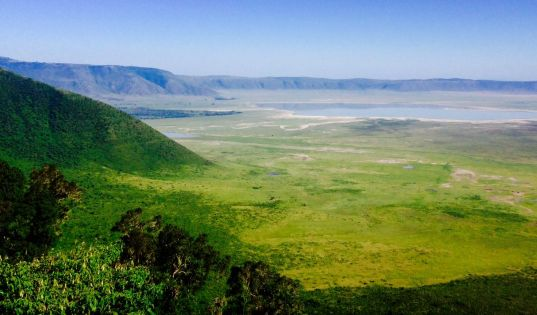 The Ngorongoro Crater is a real sight to behold as you reach the rim on the way to our camp, Entamanu.