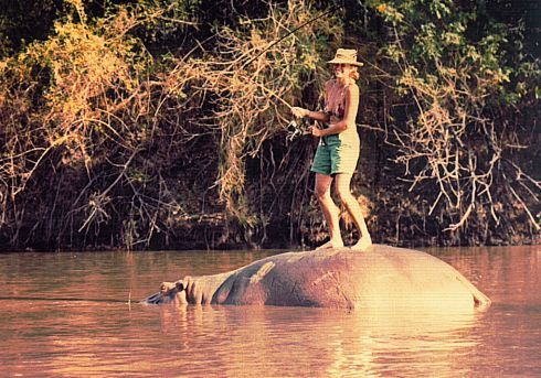 Lady on hippo
