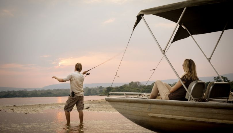 Boat safaris and a spot of fishing on the Rufiji River in the Selous.