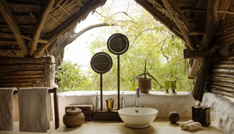 Open air bathrooms at Sand Rivers Selous.