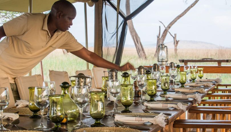 The dining tent is the centre of the camp at Serengeti Safari Camp.