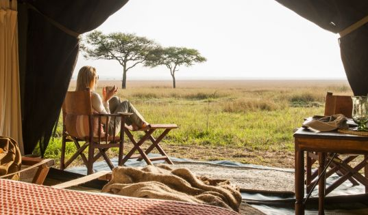 Our migration camp, Serengeti Safari Camp. Always hot on the heels of all the action surrounding the wildebeest as it moves through the Serengeti.
