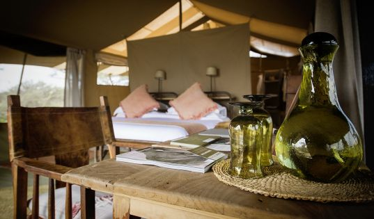 Everything you need, nothing that you don't in our mobile tented Serengeti Safari Camp.