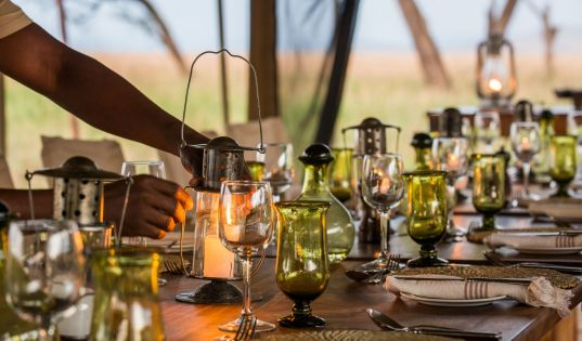 Dinner in the heart of the Serengeti at Serengeti Safari Camp.