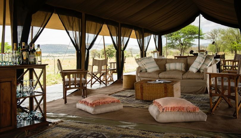 Lounge with endless views of the Serengeti plains from our Serengeti Safari Camp.