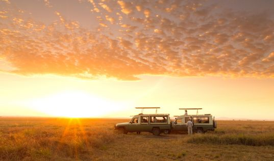 Sunrise over the Serengeti plains while out and about from Serengeti Safari Camp.
