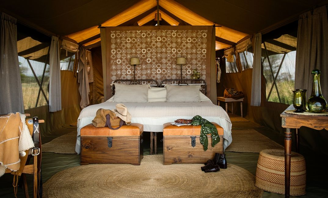 Beautiful, stylishly simple and supremely comfortable. Our light of foot mobile Serengeti Safari Camp.